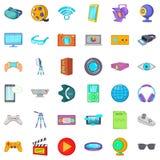 Cinema icons set, cartoon style. Cinema icons set. Cartoon style of 36 cinema vector icons for web isolated on white background Royalty Free Stock Image
