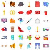 Cinema icons set, cartoon style. Cinema icons set. Cartoon style of 36 cinema vector icons for web isolated on white background Stock Photos