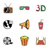 Cinema icons set, cartoon style. Cinema icons set. Cartoon illustration of 9 cinema vector icons for web Stock Photography