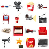 Cinema icons set in cartoon style. Movie equipment set collection vector illustration Stock Image