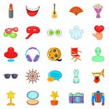 Cinema icons set, cartoon style. Cinema icons set. Cartoon set of 25 cinema vector icons for web isolated on white background Royalty Free Stock Photo
