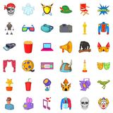 Cinema icons set, cartoon style. Cinema icons set. Cartoon style of 36 cinema vector icons for web isolated on white background Royalty Free Stock Images