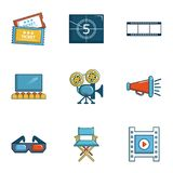 Cinema icons set, cartoon style. Cinema icons set. Cartoon set of 9 cinema vector icons for web isolated on white background Stock Photo