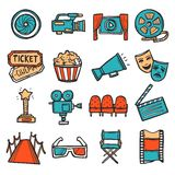 Cinema Icons Set Color stock illustration