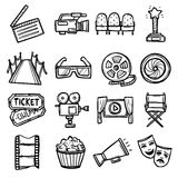 Cinema Icons Set. Cinema and entertainment arts hand drawn decorative icons set with clapperboard camera chairs award isolated vector illustration Stock Photo