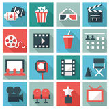 Cinema icons. Set of 16 Cinema icons. Flat design Royalty Free Stock Photo