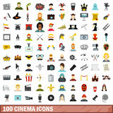 100 cinema icons set, flat style. 100 cinema icons set in flat style for any design vector illustration Royalty Free Illustration