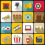 Cinema icons set, flat style. Cinema icons set in flat style. set collection vector illustration Royalty Free Stock Photo