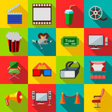 Cinema icons set, flat style. Cinema icons in flat style. Film set collection vector illustration Royalty Free Stock Photo