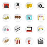 Cinema icons set, flat style. Cinema icons set. Flat illustration of 16 cinema vector icons for web Stock Image