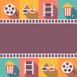 Cinema icons set. Flat style signs  vector. Cinema icons set. Flat style signs, vector illustration Royalty Free Stock Images