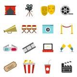 Cinema icons set, flat style. Flat cinema icons set. Universal cinema icons to use for web and mobile UI, set of basic cinema elements isolated vector Stock Images