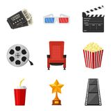 Cinema icons set in flat style on white background. To rent and watch movie in the cinema decorative elements. Accessories cinemas. Movie and film concept Stock Image
