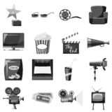 Cinema icons set, gray monochrome style. Cinema icons set. Gray monochrome illustration of 16 cinema icons for web vector illustration