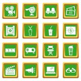 Cinema icons set green square vector. Cinema icons set vector green square isolated on white background Stock Images