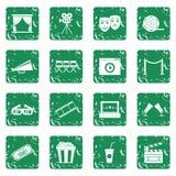 Cinema icons set grunge. Cinema icons set in grunge style green isolated vector illustration Stock Photos