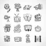Cinema icons set. Cinema icons hand drawn set with film strip clapperboard ticket isolated vector illustration Royalty Free Stock Images