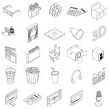 Cinema icons set, isometric 3d style Stock Image