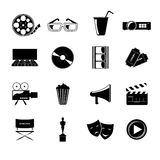 Cinema icons set. Cinema movie entertainment film black icons elements set isolated vector illustration Royalty Free Stock Image