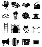 Cinema Icons. Set of cinema,movie related icon set in black royalty free illustration