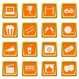 Cinema icons set orange Royalty Free Stock Images