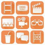 Cinema icons set. Orange square signs with movie theater symbols. Vector illustration isolated on white background Royalty Free Stock Photos