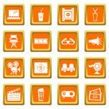 Cinema icons set orange square vector. Cinema icons set vector orange square isolated on white background Stock Images