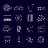 Cinema icons set outline. Cinema movie entertainment film outline icons elements set isolated vector illustration Royalty Free Stock Photography