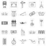 Cinema icons set, outline style. Cinema icons set. Outline set of 25 cinema vector icons for web isolated on white background Royalty Free Stock Photography