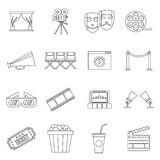 Cinema icons set, outline style Stock Images