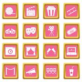 Cinema icons pink Royalty Free Stock Photo