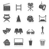 Cinema icons set. Production film and watch movie in the cinema icons collection Stock Photo