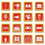 Cinema icons set red square vector. Cinema icons set vector red square isolated on white background Stock Image