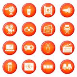 Cinema icons set red vector. Cinema icons set vector red circle isolated on white background Stock Photos