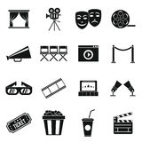 Cinema icons set, simple style Stock Photos