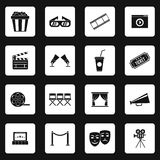 Cinema icons set, simple style. Cinema icons set in simple style. Movie elements set collection vector illustration Stock Image