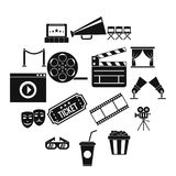 Cinema icons set, simple style. Cinema icons set in simple style. set collection vector illustration Royalty Free Stock Photo