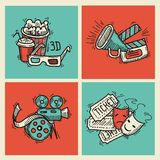Cinema icons set. Cinema sketch icons set with popcorn glasses tickets clapperboard and megaphone isolated vector illustration Royalty Free Stock Photo