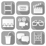 Cinema icons set. Square gray signs with movie theater symbols. Vector illustration Royalty Free Stock Images
