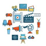 Cinema icons set symbols, cartoon style. Cinema icons set symbols. Cartoon illustration of 16 cinema symbols vector icons for web Royalty Free Stock Image