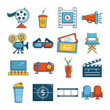 Cinema icons set symbols, cartoon style. Cinema icons set symbols. Cartoon illustration of 16 cinema symbols vector icons for web Stock Photo