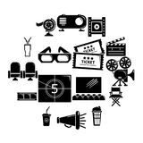 Cinema icons set symbols, simple style. Cinema icons set symbols. Simple illustration of 16 cinema symbols vector icons for web Royalty Free Stock Image