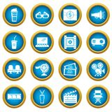 Cinema icons set symbols, simple style. Cinema icons set symbols. Simple illustration of 16 cinema symbols vector icons for web Stock Images