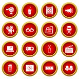 Cinema icons set symbols, simple style. Cinema icons set symbols. Simple illustration of 16 cinema symbols vector icons for web Royalty Free Stock Photos