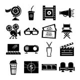 Cinema icons set symbols, simple style. Cinema icons set symbols. Simple illustration of 16 cinema symbols vector icons for web Stock Photography