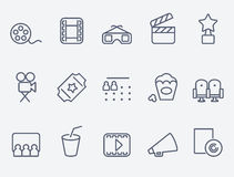 Cinema icons. Set of 15 Cinema icons. Thin lines vector illustration