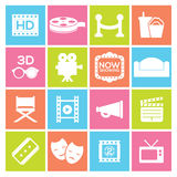Cinema Icons. Set 16 Cinema Icons Vector Royalty Free Stock Images