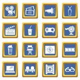 Cinema icons set blue square vector. Cinema icons set vector blue square isolated on white background Stock Image