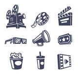 Cinema icons. Set of cinema icons. Vector illustration Stock Photo