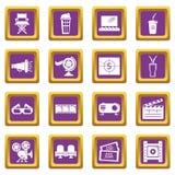Cinema icons set purple square vector. Cinema icons set vector purple square isolated on white background Royalty Free Stock Photos